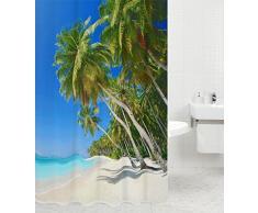 Tenda da doccia | grande scelta di belle tende da doccia di alta qualità | 12 anelli inclusi | impermeabile | effetto anti-muffa (180 x 200 cm, Caraibi)