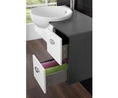 Mobile arredo bagno moderno Fiordaliso sospeso cm 80 bianco marrone con lavabo semincasso e specchio