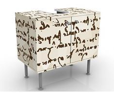 Mobile per lavabo design Da Vinci Manuskript 60x55x35cm, basso, Larghezza: 60cm, regolabile, mobiletto da lavandino, lavandino, mobiletto da lavabo, lavabo, mobiletto, bagno, bagnetto, mobile da bagno