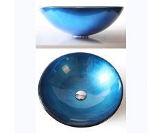 LINLIN-Waschbecken Aus Glas Lavabo Rotondo in Vetro per Bagno 42 x 14,5 x 1,2 cm Blu