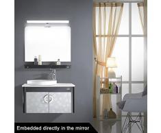 [Nuova Visione]CroLED Lampada Specchio, Plafoniera Lampda LED da Specchio Bagno Parete Muro, Luce Bianco Caldo 8W 600LM AC190-240V 48 LED SMD2835, in Alluminio Anodizzato Piu Elegante Bello Robusto, Impermeabile IP44