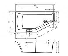 Vasca da bagno in acrilico RIHO angolare destro GETA 170 x 90 cm, con manico integrato