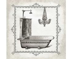 TELA-ARROTOLATA.Babbitt-Gwendolyn-Cm_35_X_35-La-vasca-e-Chandelier-I-grigio-nero-bianco-crema-vasca-vasca-da-bagno-con-doccia-lampadario-epoca-effimeri-bagno-bagno-schizzo-vittoriana,-Soggetto-Bagno-