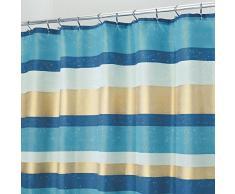 InterDesign Geometric Poly Tende per doccia in tessuto impermeabile, Tenda vasca da bagno in poliestere con motivo geometrico, verde acqua e oro