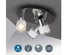 Faretti LED da soffitto orientabili, lampadario bagno, include 3 lampadine LED GU10 da 5W 400Lm, luce calda 3000K, plafoniera moderna resistente agli schizzi d'acqua IP44, metallo cromato e vetro 230V