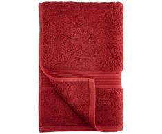 AmazonBasics - Set di 2 asciugamani da bagno e 2 asciugamani per le mani che non sbiadiscono, colore Rosso