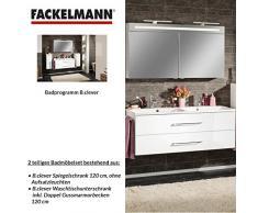 Fackelmann – Set di mobili da bagno B. Clever 2 pezzi 120 cm Bianco con lavabo sotto armadio con doppio lavabo in marmo e armadietto a specchio LED