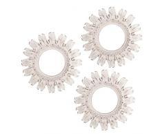 D'Casa - Set di 3 specchi da parete, colore bianco, motivo sole nascente