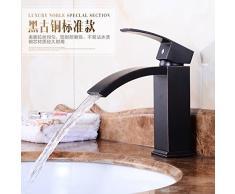 CNBBGJ Europea e americana nero bagno armadietto antico rame singolo foro lavabo Rubinetti per lavabo sotto rubinetto di piatti caldi e freddi del bacino di contatore,Nano nero