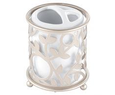 InterDesign Vine Portaspazzolini, Metallo, Bianco, 8.26x12.7x0.2 cm