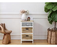 Cassettiera comodino mobile 3 cassetti legno colore legno naturale grigio shabby (Cod. 0-3413)