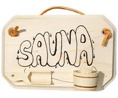 Kaltner Targa Porta in legno massiccio, Acero per la sauna con aufgeklebtem KUEBEL