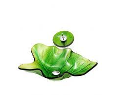 Bagno Lavandino durevole Lavabo in vetro temperato Lavabo da bagno Design moderno e minimalista Bacino creativo foglia arte@Foglia verde_Tipo C