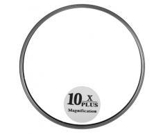 QVS - Specchio cosmetico ingranditore, ingrandimento 10x, con ventose