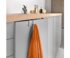 Metaltex Oasis - Porta asciugamani laccato Polytherm, con 2 ganci, per mobiletto da bagno, colore: argento