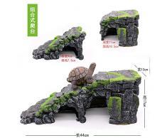 JRTAN & Pet Turtle Piattaforma per Prendere Il Sole Grande Vasca da Bagno con Tartaruga dAcqua paesaggistica, Tavolo da Arrampicata Combinato