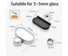 Mengger Supporto Vetro Clip per specchi da bagno 8 pezzi Supporto per staffa vetro Kit lega di zinco fissaggio a parete Clip con tasselli e viti
