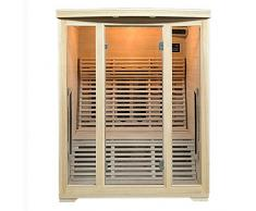 Artsauna - Cabina termica a infrarossi, Finlandia 150, con faretti in ceramica e legno di Hemlock, sauna a infrarossi con panca relax per 3 persone