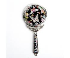 Specchio a Mano in Madreperla Specchio Per Truccarsi Per Trucchi o Cosmetici Con Motivo Fiori e Farfalla