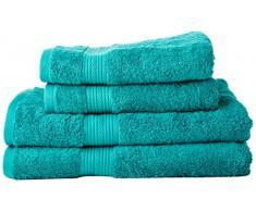 AmazonBasics - Set di 2 asciugamani da bagno e 2 asciugamani per le mani che non sbiadiscono, colore Verde Turchese