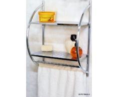 Mensola da muro cromata per il bagno - Con due ripiani e due portasciugamani