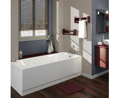 Hudson Reed Vasca da Bagno Rettangolare da Parete - Acrilico Bianco - Design con Seduta Rotonda - 1700 x 700 x 550mm