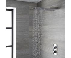 Hudson Reed Trenton Soffione Doccia Rettangolare Ultrasottile Effetti Pioggia e Cascata - 500 x 200 mm