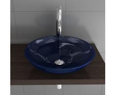 Vetro lavaggio guscio blu/blu ciotola in vetro/lavaggio in vetro Mobili/guscio/vetro Mobili da bagno/Ø 460 mm/vetro lavabo/vetro/bagno/Bagno per gli ospiti/lavabo/lavaggio guscio/Alpi Berger