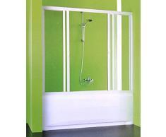 Box parete vasca angolo doccia sopravasca,misura regolabile,monoparete scorrevole apertura centrale colore bianco in acrilico c/lato fisso