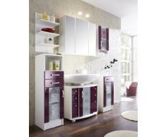 Posseik 5418 89 Nizza (Nizas) Mobiletto per lavabo colore: Bianco lucido/Mora