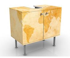Mobile per lavabo design Vintage Worldmap 60x55x35cm, basso, Larghezza: 60cm, regolabile, mobiletto da lavandino, lavandino, mobiletto da lavabo, lavabo, mobiletto, bagno, bagnetto, mobile da bagno