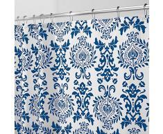 InterDesign Damask Tenda da doccia, Tenda per vasca da bagno con occhielli in metallo, Tenda in poliestere 183,0 cm x 183,0 cm con design moderno, Poliestere blu navy