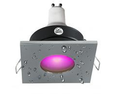 Faretto led quadrato luce doccia 3W bagno turco cromoterapia IP65 GU10 RGB 230V