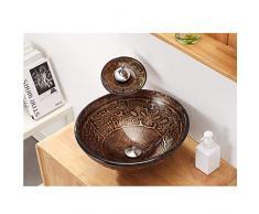 Lavandini bagno Piscina per La Pulizia della Casa Lavandino in Vetro per Ristorante Lavabo Rotondo (Color : Brown, Size : 42 * 42 * 14.5cm)