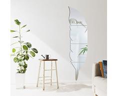 Specchi decorativi da parete forma di pulma Specchio Adesivo per Salon Habitacion Corridoio cameretta bambino M: 120*30cm argento