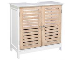 Mobile sotto-lavabo, in legno, colore: bianco