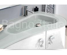 Mobile Arredo Bagno cm 90 sospeso laccato lucido con lavabo decentrato in cristallo Mobili