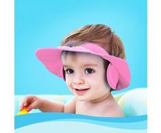 Zerodis Cuffia per la doccia del bambino con protezioni per le orecchie, cuffia per il cappello del bagnetto per lo shampoo da bagno Taglio di capelli per il parasole, dimensioni regolabili(rosa)