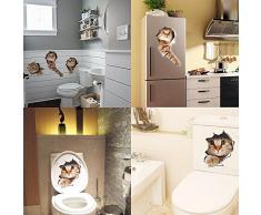 Paizizi Adesivo Muro Gatto Decalcomanie Parete 3D Rimovibile per Auto Finestra Toilette Bagno Camera da Letto Asilo Nido Cucina Decorazione della Parete