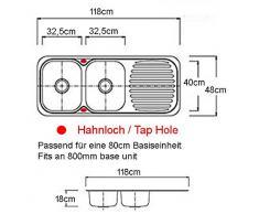 Cucine doppio bacino 2,0 l'incasso lavandino in acciaio inox con superficie di scolo (E10)