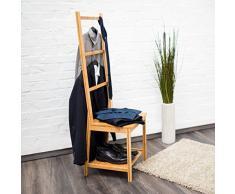 Relaxdays Porta asciugamani in legno di bambu´ tipo sedia con le seguenti misure: HBT 133 x 40 x 42 cm con 2 ripiani e 3 sbarre, ideale per ambienti umidi o anche come sedia da bagno