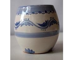 Bicchiere Portaspazzolini Linea Classica Blu Ceramica Realizzato e dipinto a mano Le Ceramiche del Castello Made in Italy