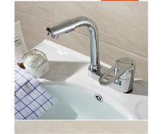 XC tout-cuivre tre fori bacino bagno vanità rubinetto caldo e freddo doppio lavabo bagno girevole bacino