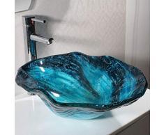 Lavandini bagno Lavabo da appoggio Rotondo Lavabo da Bagno Creativo Lavabo in Vetro temperato Blu 0713