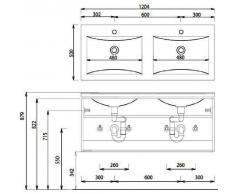 Cool Puris vetro-doppio lavabo (WGE712082), Opti white, 120 cm