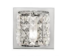 Oaks Illuminazione Etta Chrome Bagno Wall Light Completo di tonalità Opal Glass