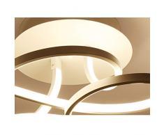 Plafoniera LED da ristorante, dimmerabile, moderna, in acrilico, lampadario da soffitto curvo in metallo per soggiorno, camera da letto, bagno, stile rustico, 70 x 40 x 20 cm moderno bianco