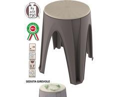 Sgabello sedia girotondo girevole in dura resina di plastica tortora per bagno casa poggiapiedi pouf