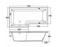 Hudson Reed - Vasca da Bagno Rettangolare Asimmetrica Versione Sinistra con Pannello Vasca in Acrilico Spessore 4mm (170 x 85cm, Capacità 235 Lt)
