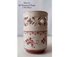 Bicchiere Portaspazzolini Linea Classica Rosa Ceramica Realizzato e Dipinto a mano da Le Ceramiche del Castello Nina Palomba Made in Italy Dimensioni H 12,5 x L 8 centimetri